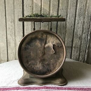 Primitive Rusty Vintage Old Green Kitchen Scale Farmhouse
