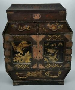 Antique Japanese Lacquered Hand Painted Collectors Specimen Cabinet C1890 Look