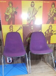 2 Vintage Eames Herman Miller Fiberglass Chairs Girard Fabric Excellent No Bases