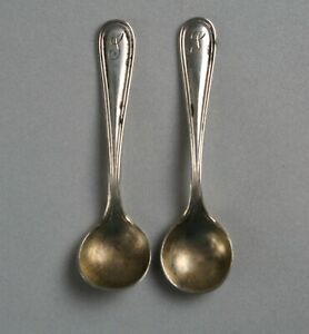 Pair Of Sterling Silver Individual Salt Spoons Marked