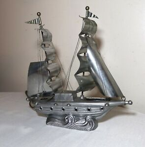 Vintage Silver Tone Figural Handmade Nautical Sail Boat Ship Table Desk Lamp