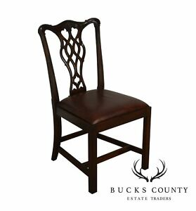 Councill Craftsman Solid Mahogany Chippendale Style Leather Seat Side Chair