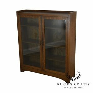 Mission Oak Antique Two Door Bookcase