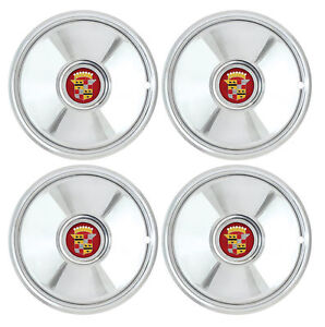 16 Cadillac Sombrero Chrome Hub Caps With Cadillac Emblem 4 Hot Rod