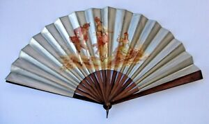 Antique French Hand Fan Silver Gilt Courting Scene Lauronce Chromolithograph