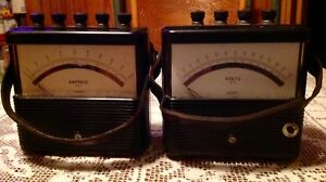 Vintage Weston Model 904 Amperes Volt A c Meters