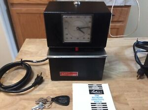 Lathem Model 3021 Ser 3000 Automatic Punch Time Clock Exc Cond 3 Keys Book
