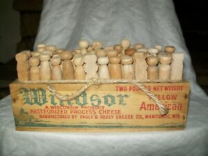 Vintage Wood Cheese Box Wood Clothes Pins Laundry Room Country Decor