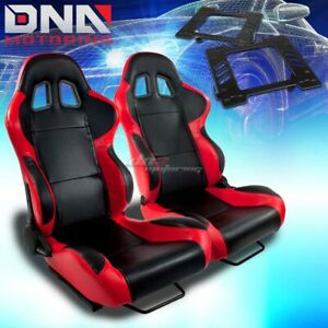 For 99 04 Mustang Sn 95 Bracket type 4 Black Red Woven Racing Seat Reclinable X2