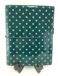 Filofax Organizer A5 Patent Leather Polka Dot Domino Planner Binder Blue Green