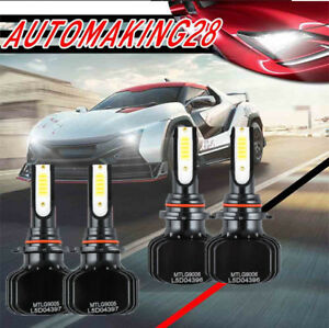 9005 9006 Cob Led Headlight Kit High low Beam White Yellow Bulbs 80000lm 6000k