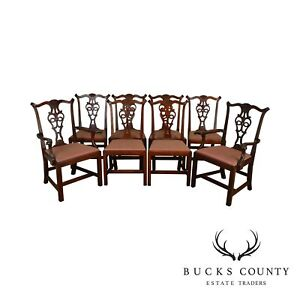 Eldred Wheeler Solid Cherry Hand Crafted Set Of 8 Chippendale Dining Chairs