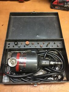 Vintage Dumore 3 011 Hand Grinder With Metal Case And Bits