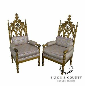 Gothic Style Antique Pair Of Gold Painted Walnut Throne Arm Chairs A
