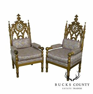 Gothic Style Antique Pair Of Gold Painted Walnut Throne Arm Chairs B
