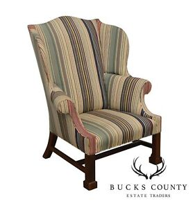 Chippendale Style Custom Quality Large Wing Chair With Marlborough Leg