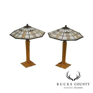 Stickley Mission Collection Oak Pair Corbel Base Art Glass Table Lamps