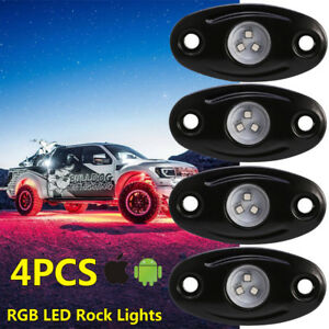 4x Led Rock Light Multicolor Change Offroad Car Truck Under Body Trail Rig Light