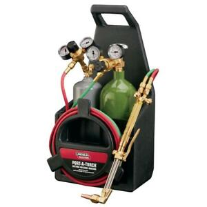 Port a torch Kit With Oxygen And Acetylene Tanks And 3 16 In X 12 Ft Hose For