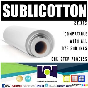 Sublicotton Heat Transfer Paper Roll 24 x50 For Sublimation Plotters Free Ship