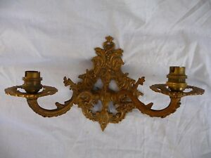Antique Brass Single Wall Light Twin Sconce French Rococo Baroque Architectural