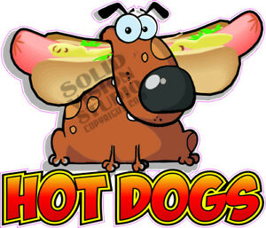Hot Dogs Cartoon Hotdog Concession Trailer Food Truck Vinyl Sticker Menu Decal