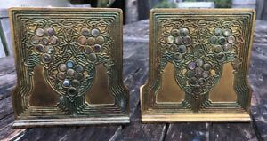Antique L C T Tiffany Studios Ny Abalone Bookends Bronze Art Deco Signed 1173