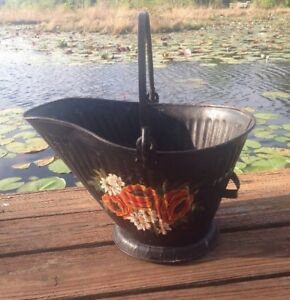 Vintage Hand Painted Flowers Metal Coal Ash Bucket Pail Scuttle Fireplace Ooak
