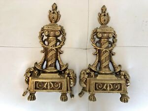 Vintage French Brass Andirons Fire Dogs Chenets Part 13 Gorgeous Front Part