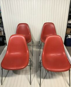 Set Of Four Vintage Herman Miller Eames Vinyl Shell Chairs