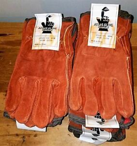 12 Pair Vtg New Old Stock Atlas Work Gloves Large Suede Or Rough Out Leather