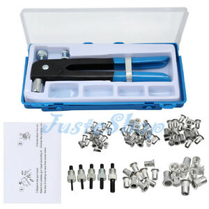 86pcs Car M3 M4 M5 M6 M8 Threaded Rivet Nut Inserts Nut Rivet Gun Wrench Tool