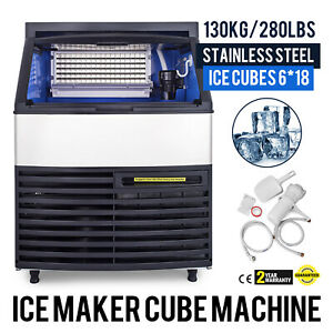 130kg 290lbs Commercial Ice Cube Maker Machine Heat Insulation Canteens 110v