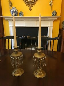 Pair Of Victorian Brass Sinubra Style Lamps Candlesticks With U Drop Crystals