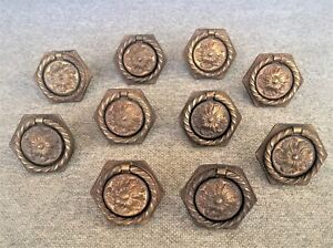 Vintage Solid Brass Drop Ring Cabinet Drawer Door Pull Lot Of 10 Free Shipping