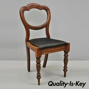 Antique 19th C English Victorian Balloon Back Mahogany Library Side Chair B