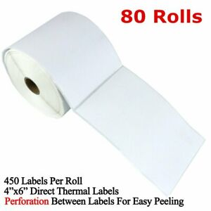 80 Rolls 4x6 Direct Thermal Shipping Address Labels 450 roll Zebra Zp450 2844