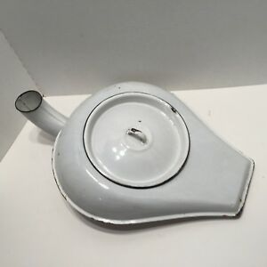 Vintage Chamber Pot With Urinal Port Bed Pan White Black Enamelware