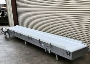 30 X 17 Long Nercon Stainless Cleated Incline Food Conveyor Conveying