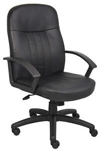 Executive Leather Office Chair In Black Boss Office Products B8106