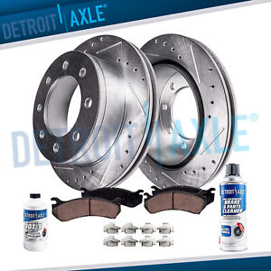 Front Drilled Brake Rotors Ceramic Pad For 2000 2001 2002 Dodge Ram 2500 3500