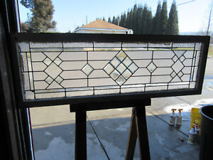 Antique Stained Beveled Glass Transom Window 68 X 23 Architectural Salvage