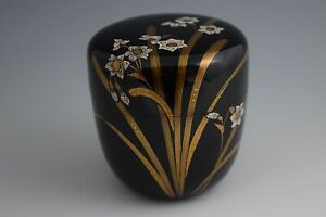 Japanese Lacquerware Makie W Eggshell Tea Caddy Natsume Narcissus Design 33