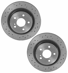 Brembo Xtra Pair Set Of 2 Rear X drilled Brake Disc Rotors For Mb W204 C207 A207