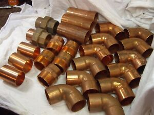 Lot Of 25 Vintage Nibco Mueller Copper 1 1 2 Solder Connection Fittings nos