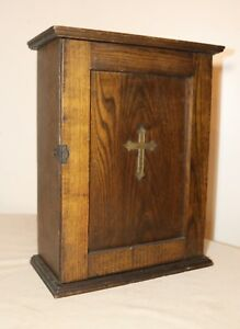 Antique Wood Brass Religious Catholic Curio Cabinet Display Table Wall Box