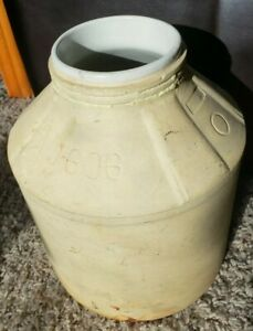 Antique One Gallon Stoneware Water Crock Jar With Ceramic Liner