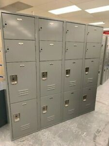 Penco Metal Gym School Employee Storage Lockers 4 Columns 16 Doors