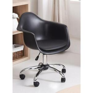 Adjustable Bucket Swivel Chair Office desk Mid century Modern Style Cushion Blk
