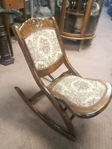 Antique Victoria Wood Folding Rocking Chair Upholstered